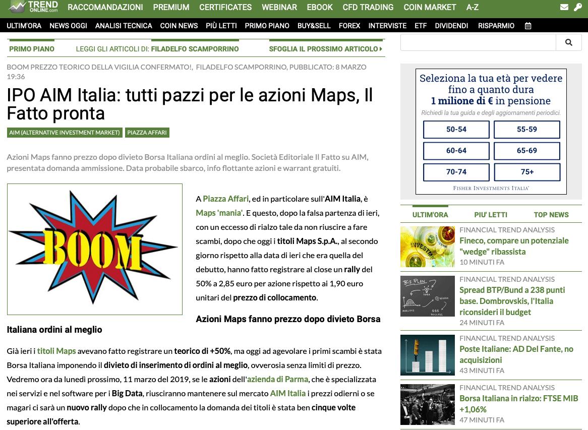 7640e844b1 IPO AIM Italia: tutti pazzi per le azioni Maps